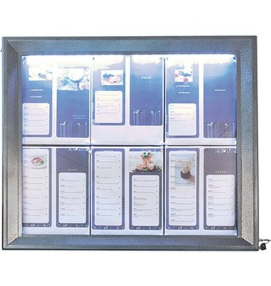 Securit Menu cabinet with LED lighting - Painted Steel - 6xA4
