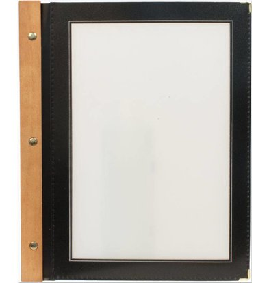 Securit Menu folder Black - Wood A5