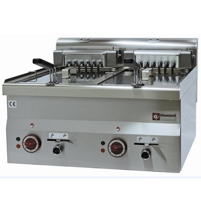 Diamond Fryer Electric Double SS | 10 Liter | Tabletop | 400V | 15kW | 600x600x (H) 280 / 400mm