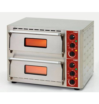 Diamond Pizza Oven Dubbel Elektrisch | RVS | Pizza Ø43cm | 670x580x(H)500mm