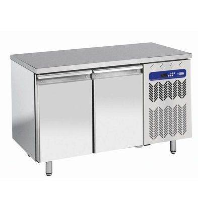 Diamond Freeze Workbench Stainless Steel - 2 door - 260 liters | Temperature: -10 ° / -20 ° C | 136x70x (h) 88 / 90cm