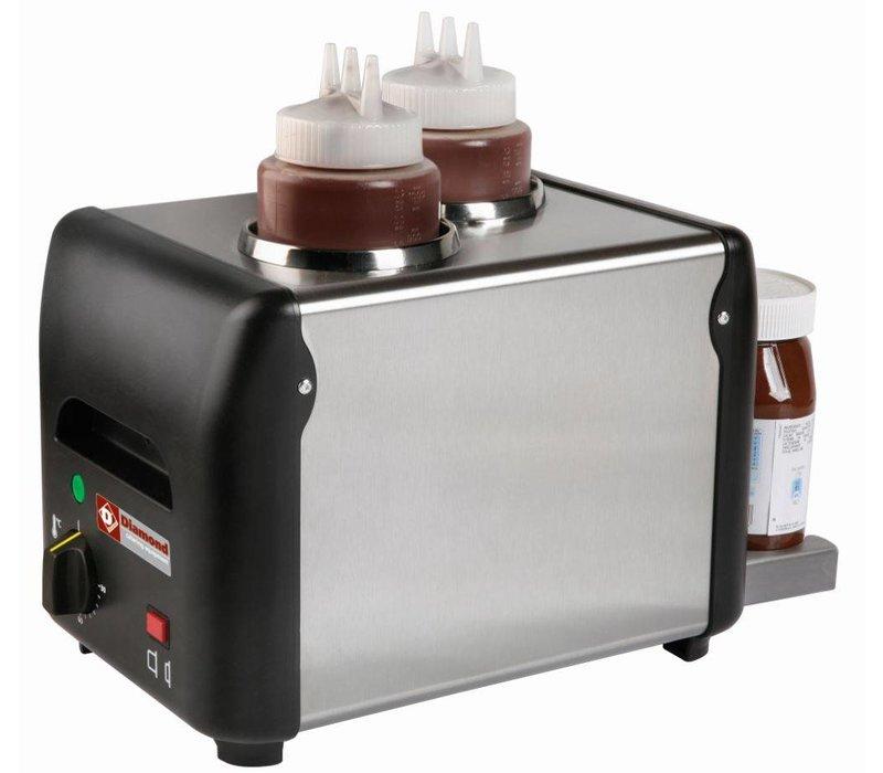 Diamond Chocolade saus verwarmer 2 Flessen  | 2 x 1 liter | 310x2105x(h)230mm | 340W