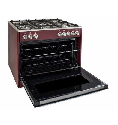 Saro Gasfornuis Rood 5 Pits + Elektrische Oven + Elektrische Grill 90 Liter   230V   900x600x(H)850mm