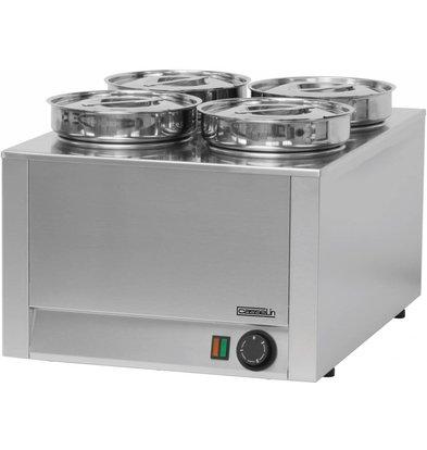 Casselin Hotpot | Bain-Marie | Stainless steel | 4x4,5 Liter | 800W | 450x600x (H) 350mm