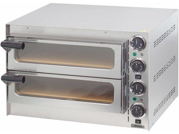 Casselin Pizza Oven RVS | 2 Binnenkamers 410x370x90mm | 2700W | 550x430x(H)245mm
