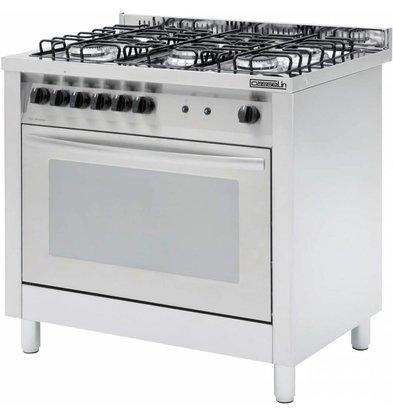 Casselin Gasfornuis 5 Pits + Elektrische oven 117 liter   900x600x(H)850/900mm