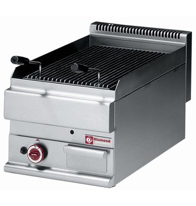 Diamond Lava Rock Grill Gas RVS - Tabletop - with Cast Iron Cooking grid - 40x65x (h) 28 / 38cm - 4.8KW