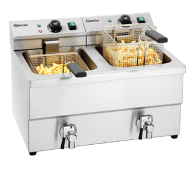 Bartscher Elektrische Friteuse | Met Aftapkranen | 2x8 Liter | 2x3,5kW | 580x550x(H)410mm