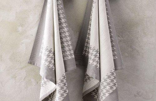 De Witte Lietaer Theedoek Pied De Poule 65x65 Grey