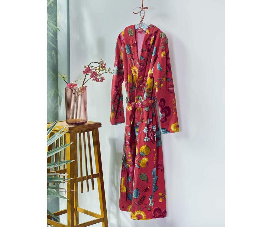 14e15d944c5 PiP Studio Floral Fantasy Badjas Rood - LINNENMODE