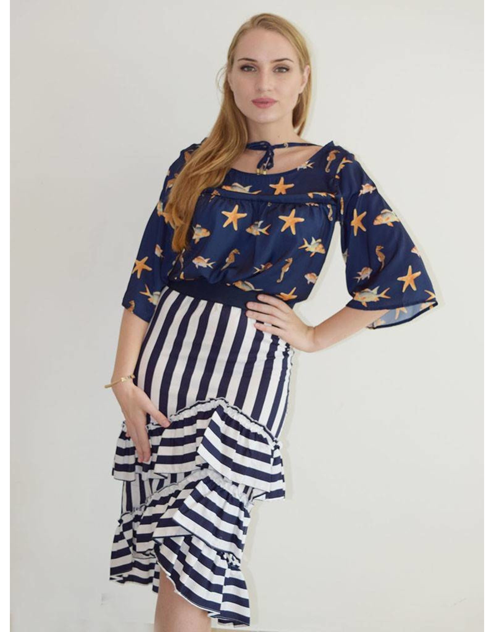 Que Guapa Blue striped ruffles skirt