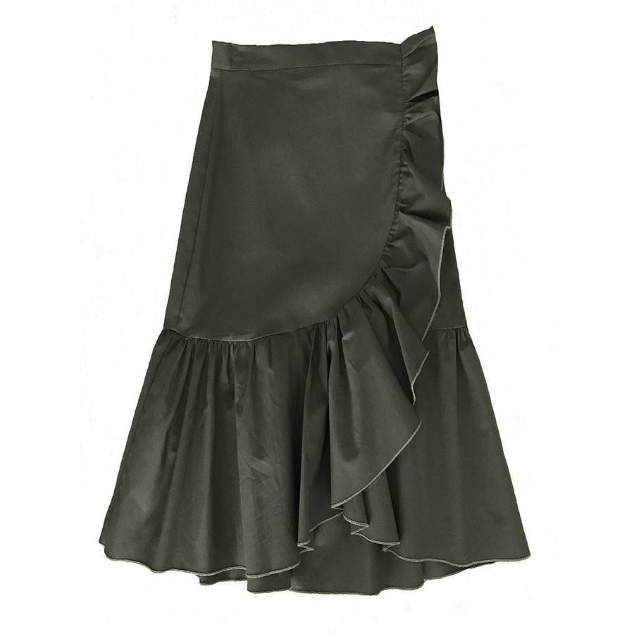Army green ruffles skirt