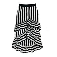 Blue striped ruffles skirt