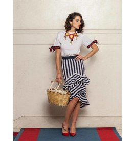 Que Guapa Blue striped ruffles skirt
