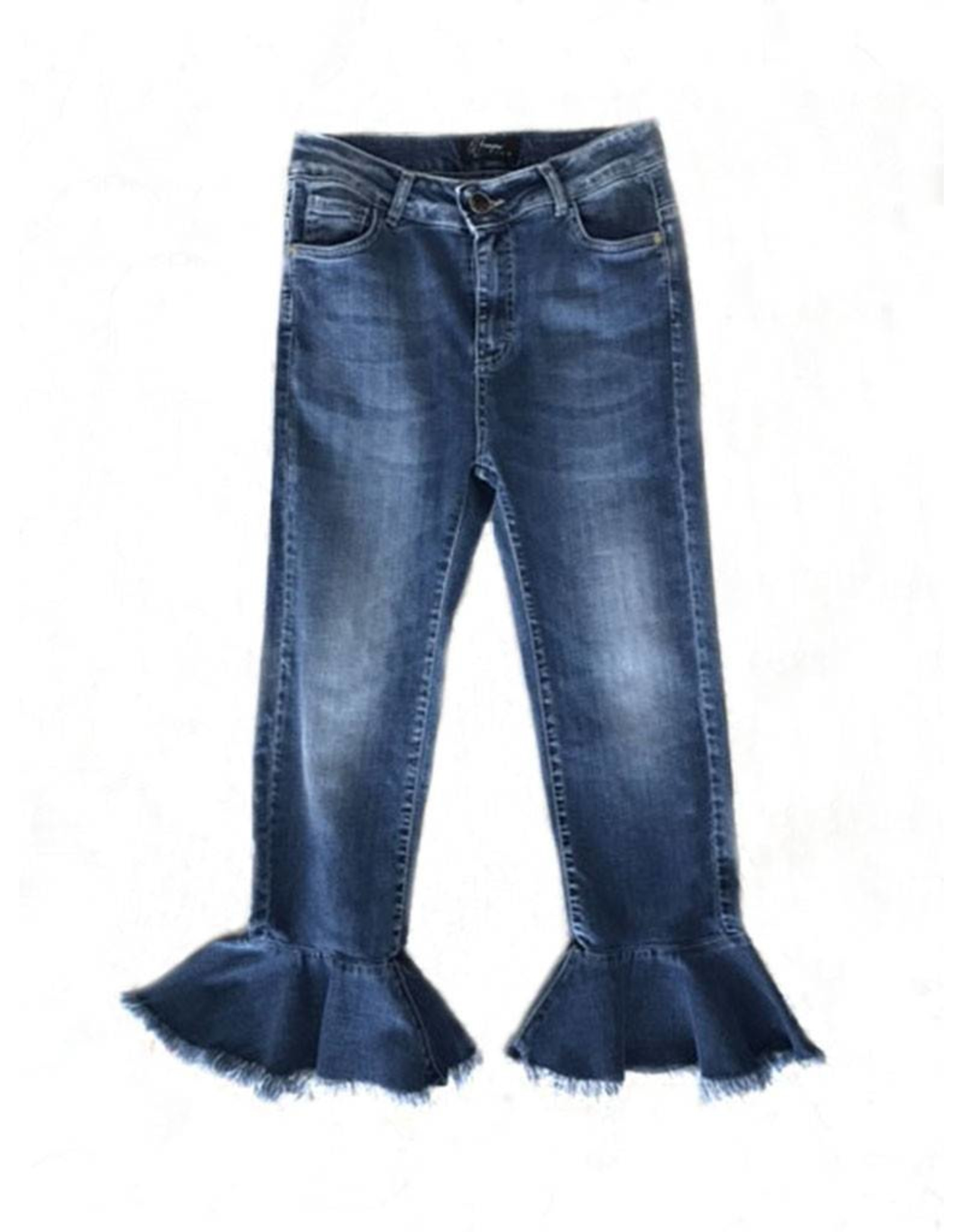Que Guapa Denim W/ ruffles on the bottom