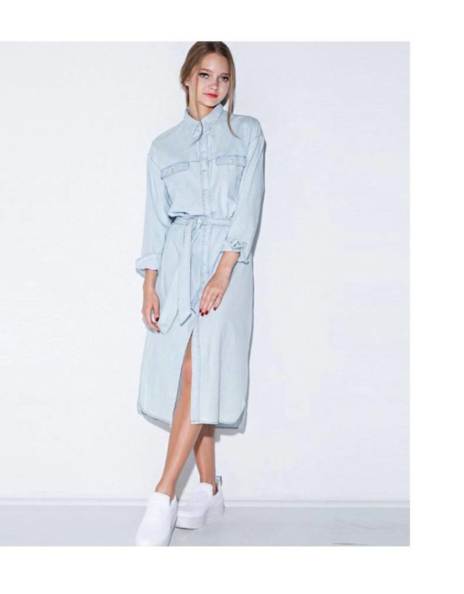 Love Shop Pray Midi denim dress