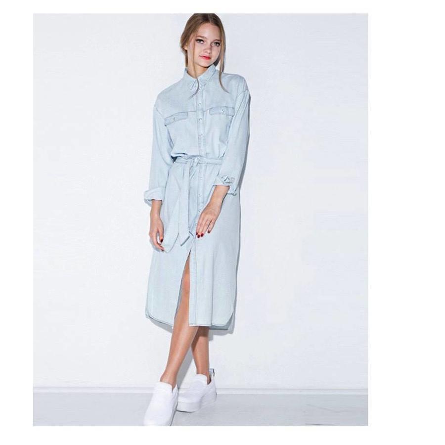 Midi denim dress