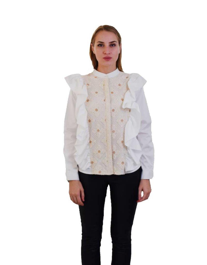 Preeti Chandra Lace patch apron shirt