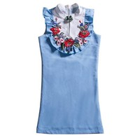 Floral appliqué sleeveless dress