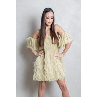 Off Shoulder  with feathers