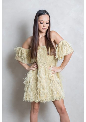 Preeti Chandra Off Shoulder  with feathers