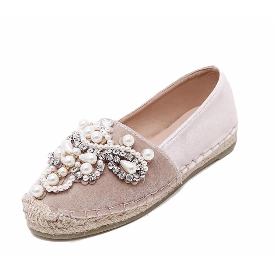 Soft leather rhinestone shoes