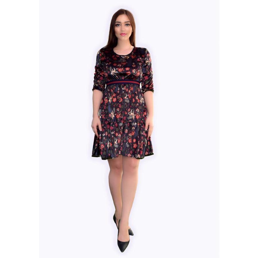 Velvet printed dress