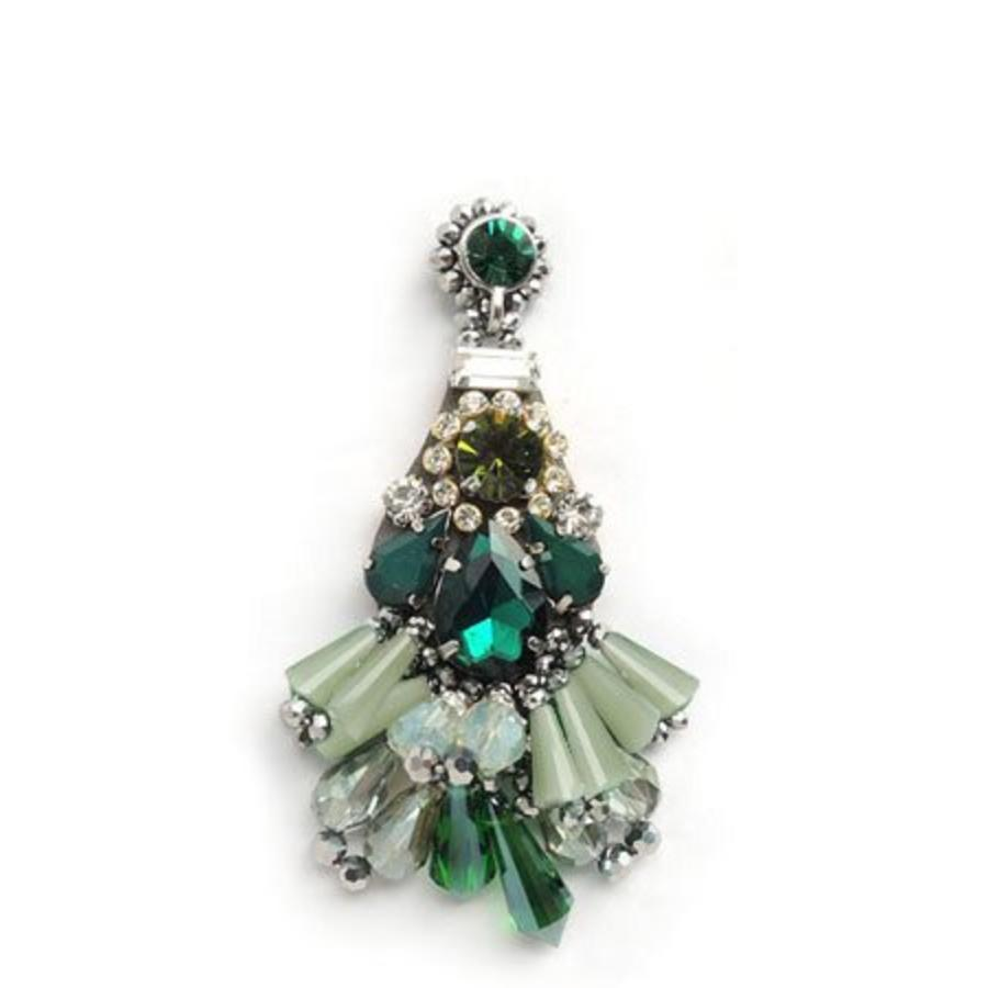 Crystal Drop Earrings Green