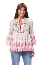 Peace & Love Love beaded eyelet top