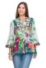 Peace & Love Love printed beaded top