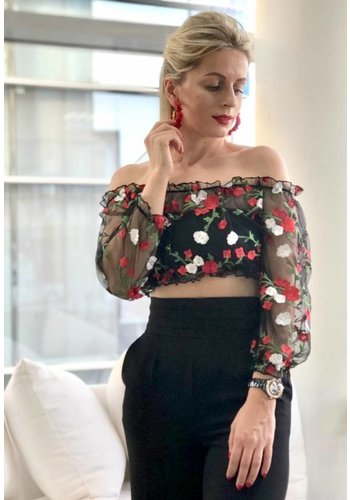 Love Shop Pray Floral embroidery top