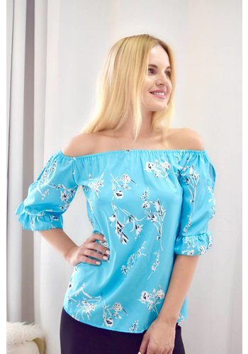 Love Shop Pray Printed off shoulder top