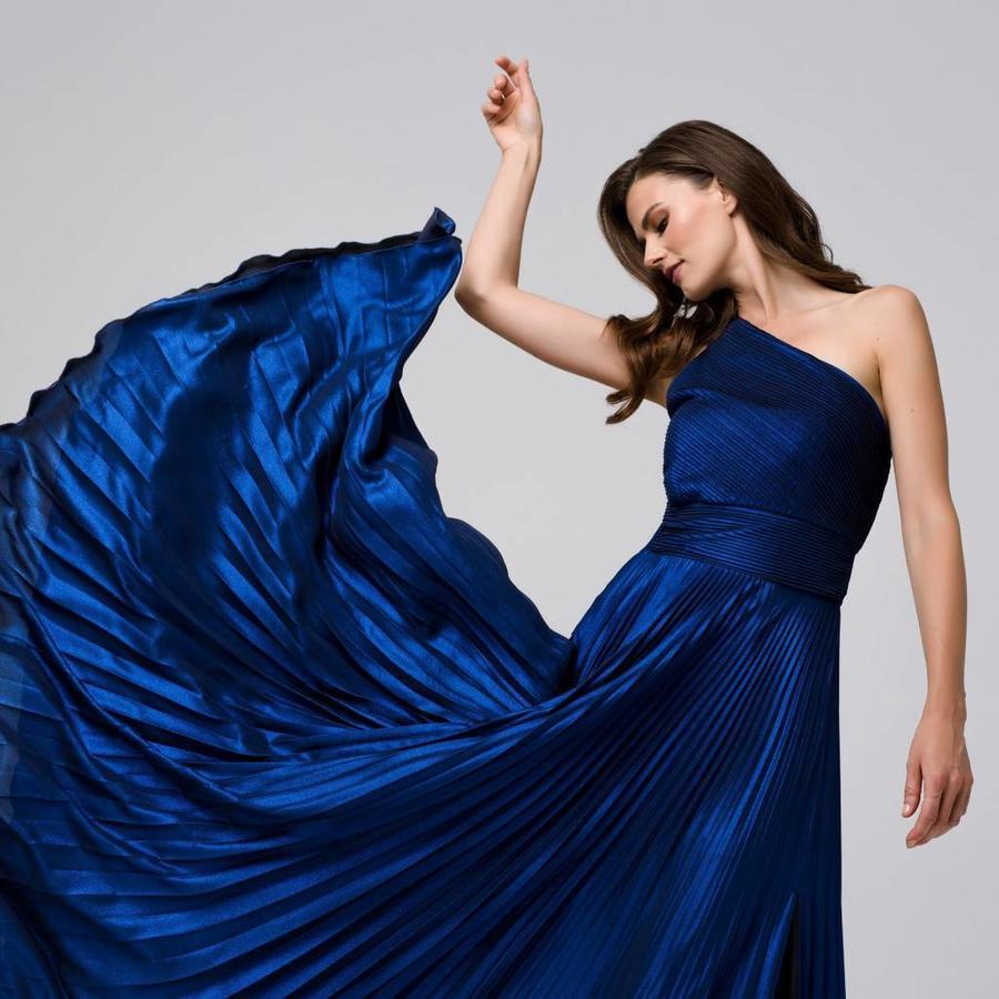 Maxi one shoulder glitter moussline pleated dress