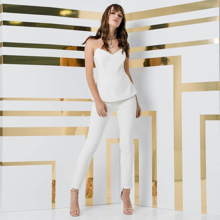 Strapless jumpsuit with strass