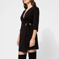 Wrap dress with front bow