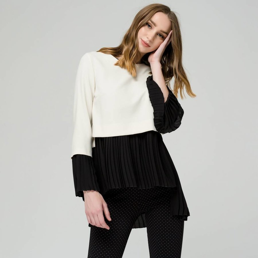 Top with pleated blouse