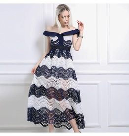 Love Shop Pray Off shoulder lace dress