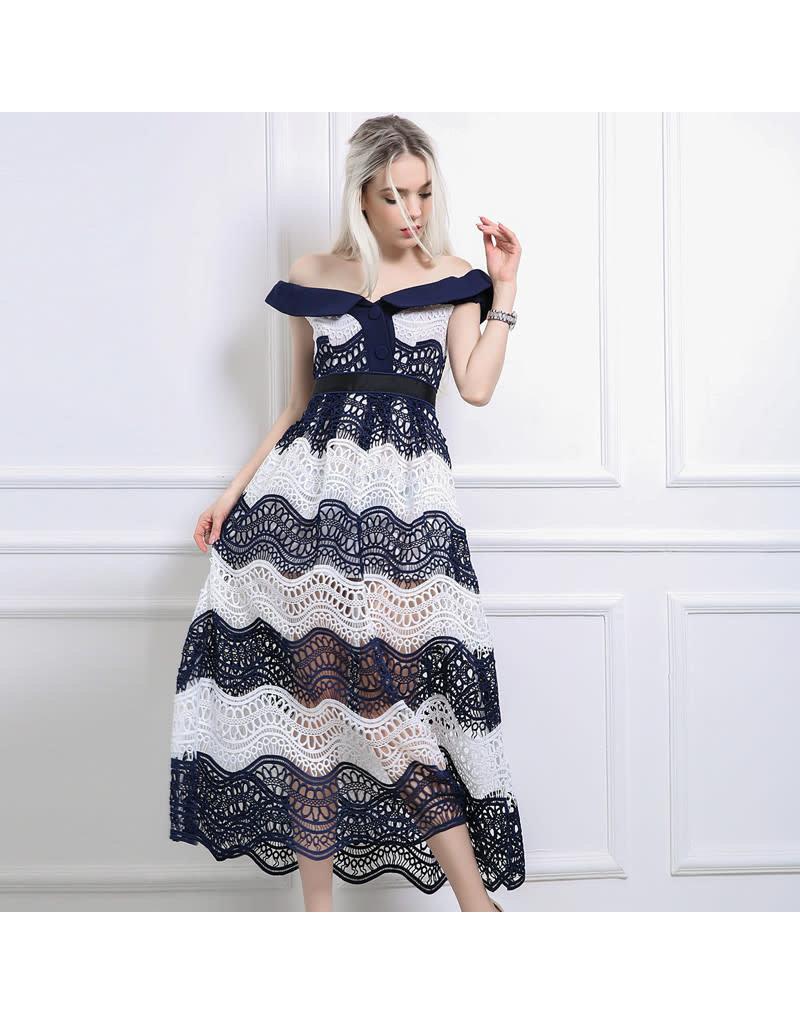 Love Shop Pray Off shoulder lace dress