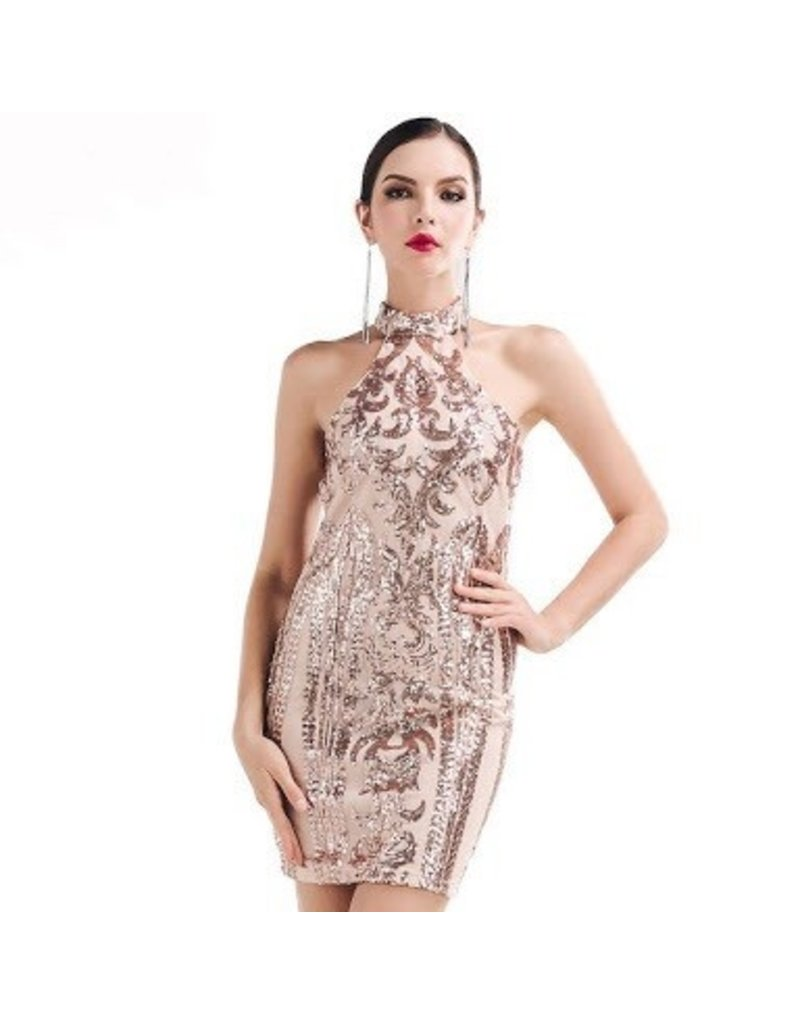 Love Shop Pray Sequins dress rose