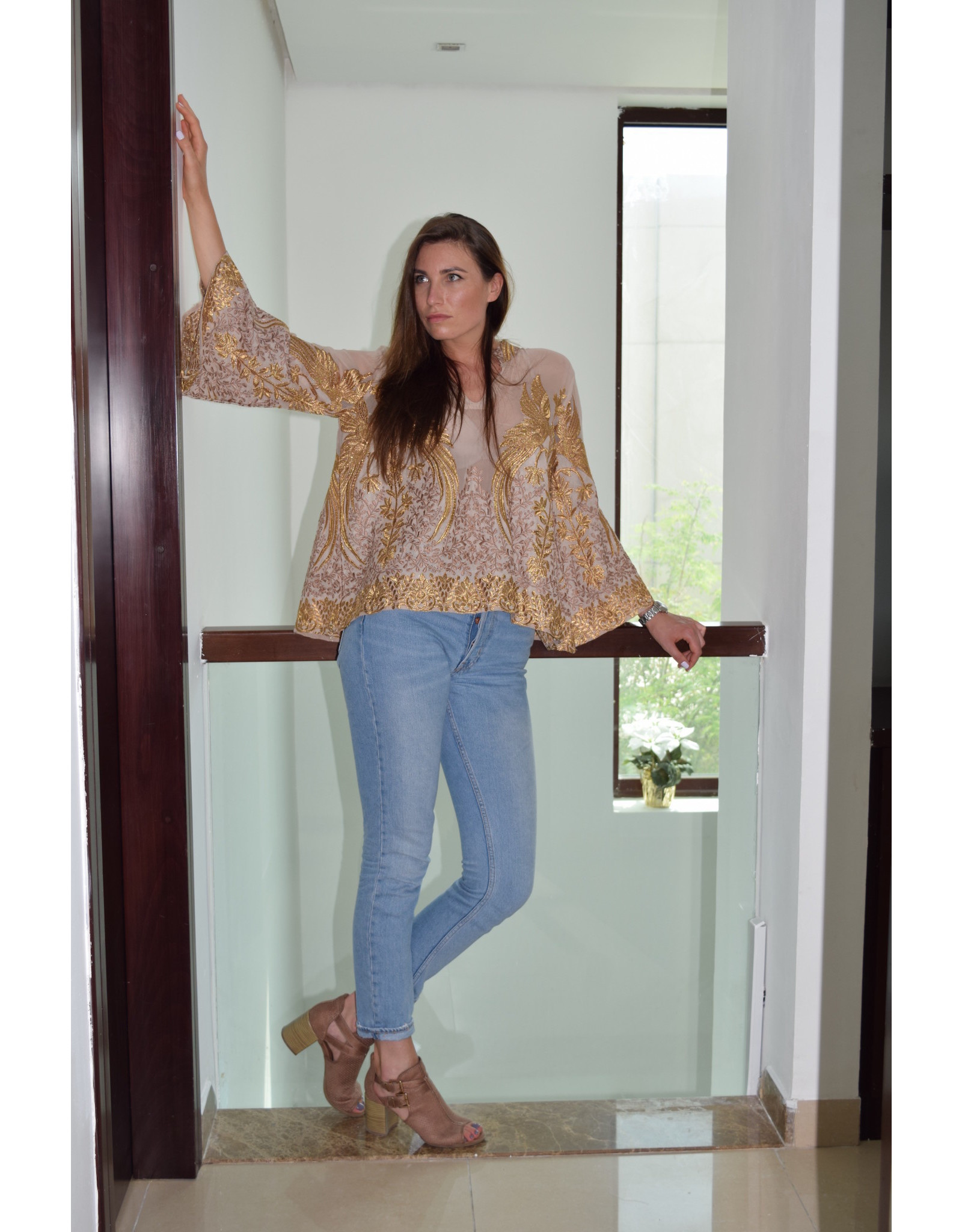 Preeti Chandra Bird embroidery kaftan top