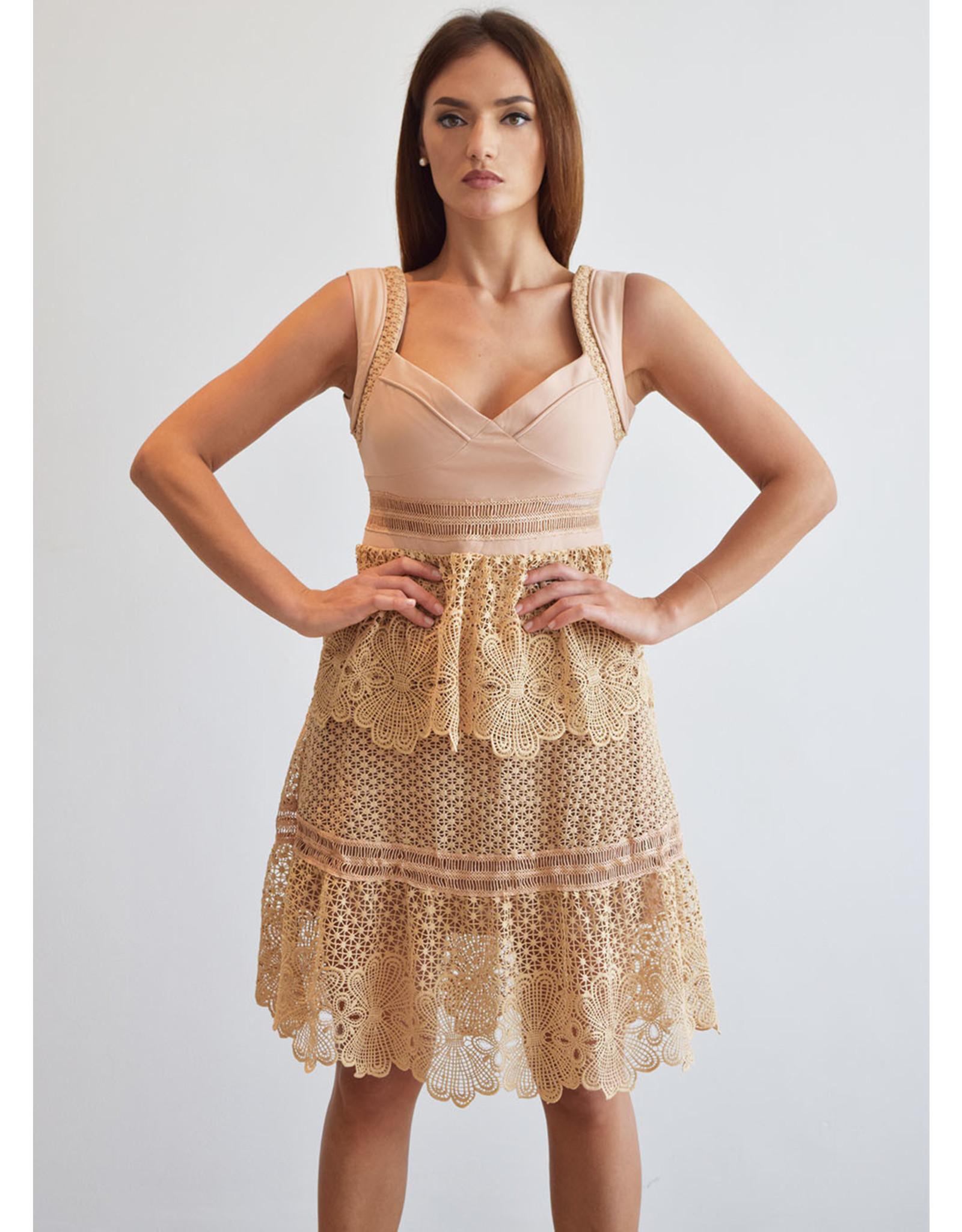 Love Shop Pray Beige Lace Dress