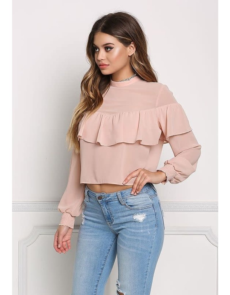 Love Shop Pray Chick Pink Stand Collar Back Button