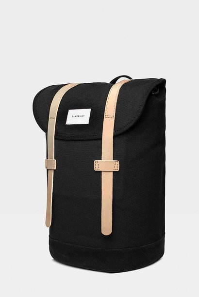 Stig Backpack Black / Brown leather