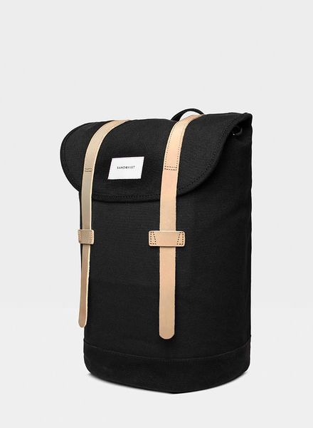 Sandqvist Stig Backpack Black / Brown leather