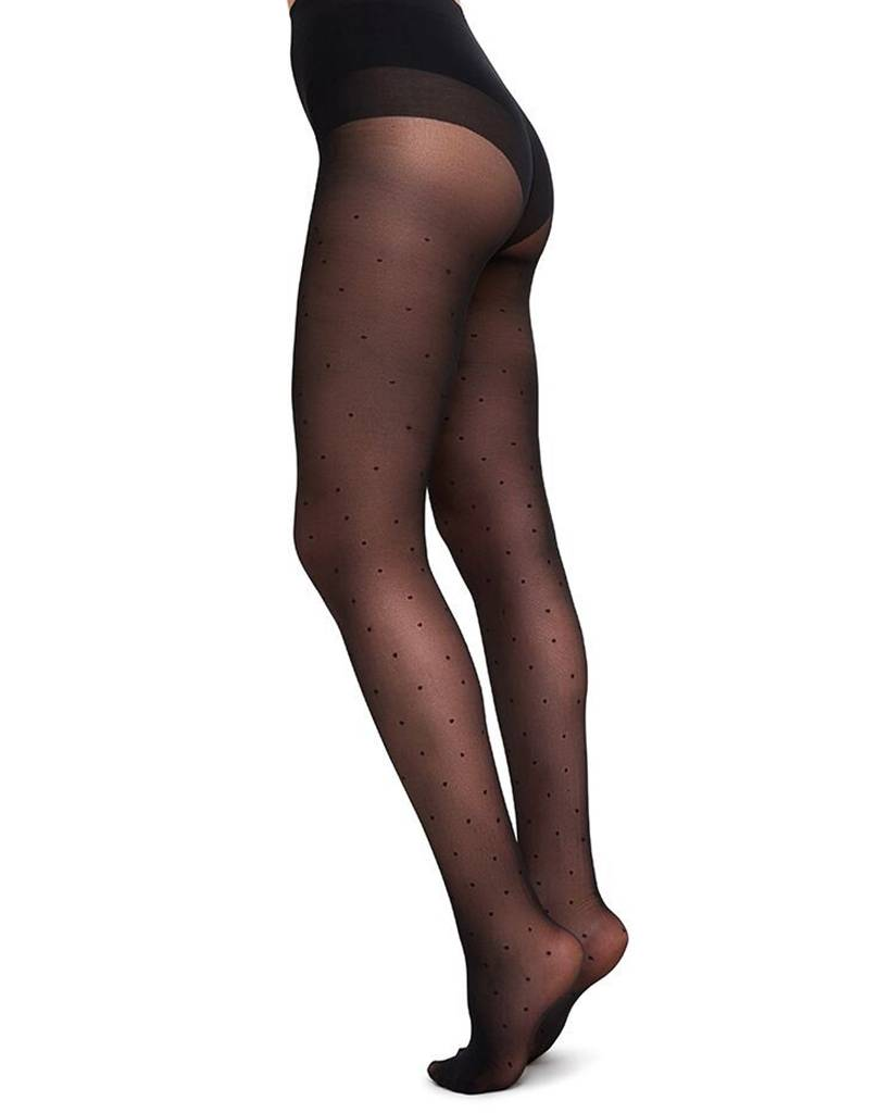 Swedish Stockings | Doris Dots Black 40 den