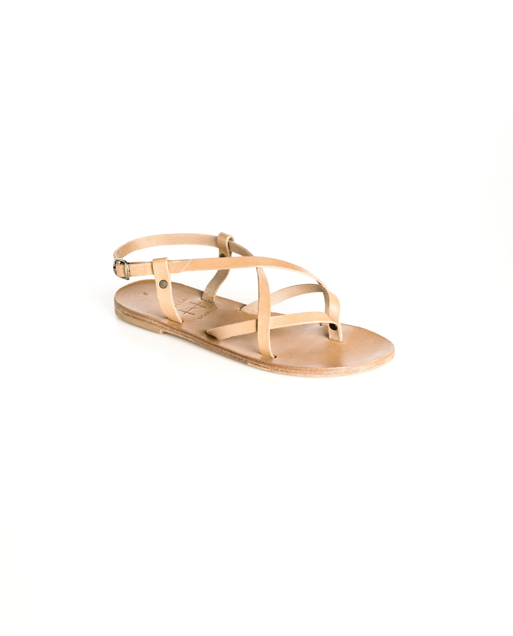 Nulla Nomen | Sandal Toe Cross Strap Small Natural Vegetable Tanned Leather