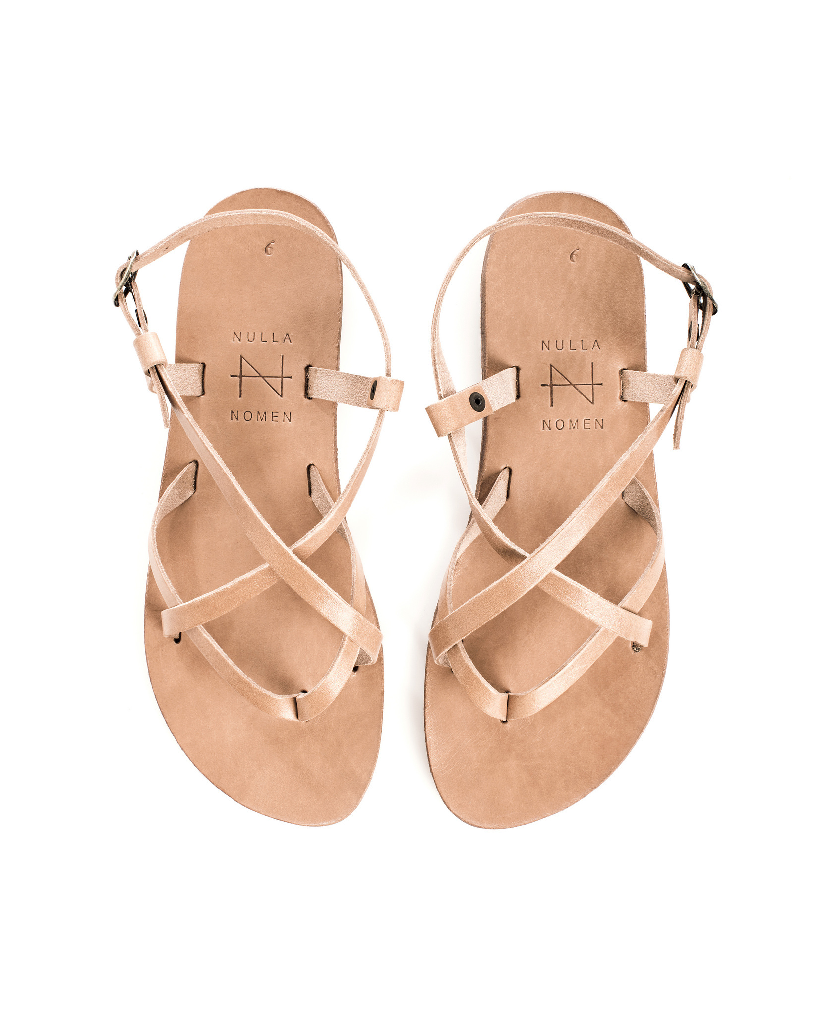 Nulla Nomen Nulla Nomen | Sandal Toe Cross Strap Small Natural Vegetable Tanned Leather