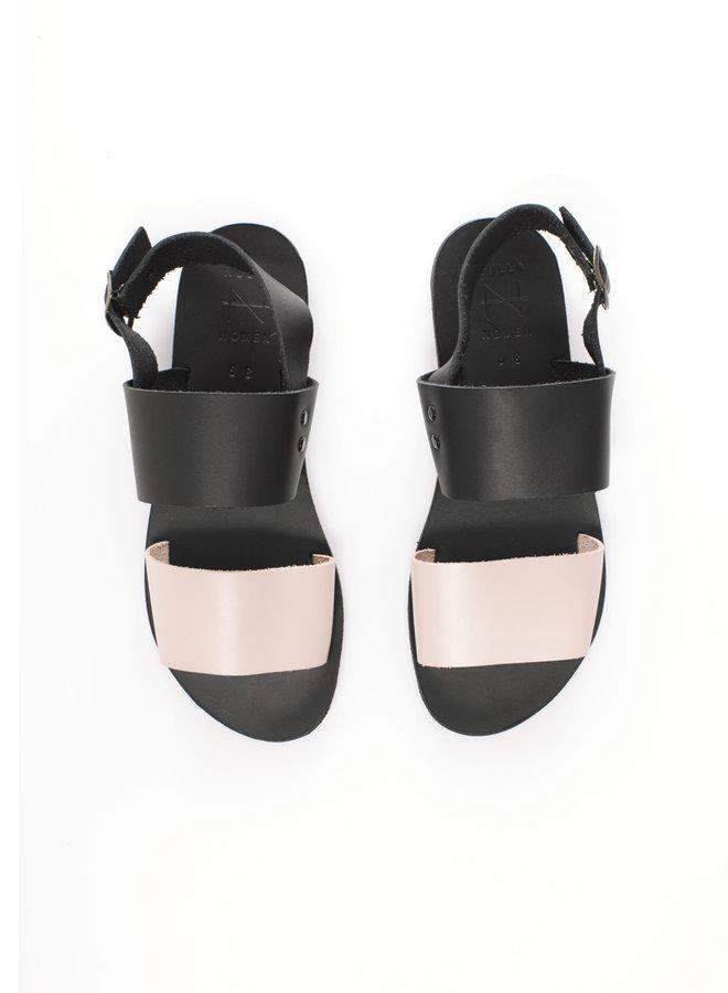 Nulla Nomen | Sandal black / Nude Vegetable Tanned Leather