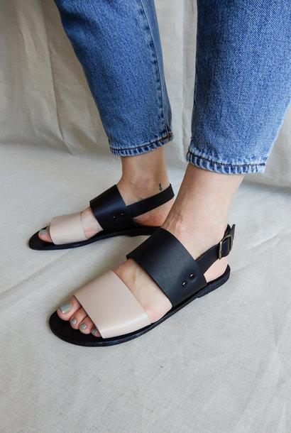 Sandalen Zwart / Nude Plantaardig Gelooid Leer