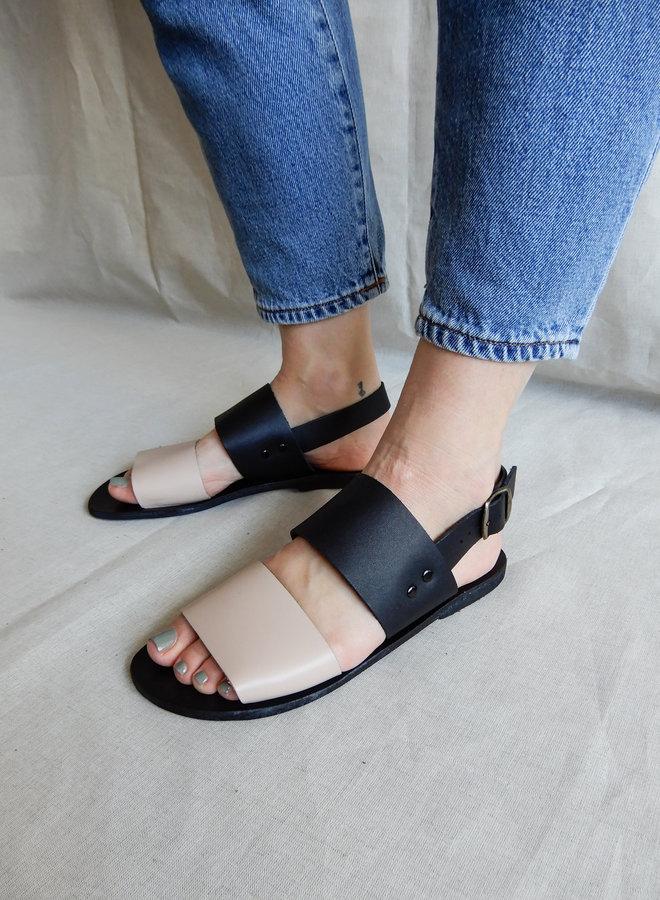 Sandal black / Nude Vegetable Tanned Leather